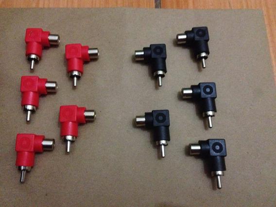 Lote Com 10 Plug Adaptadores Rca 90 Graus