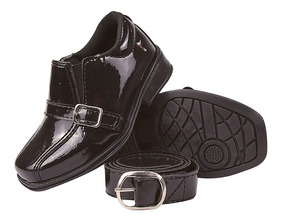 Sapato Social Infantil Masculino Verniz Com Cinto Fiv 20/27