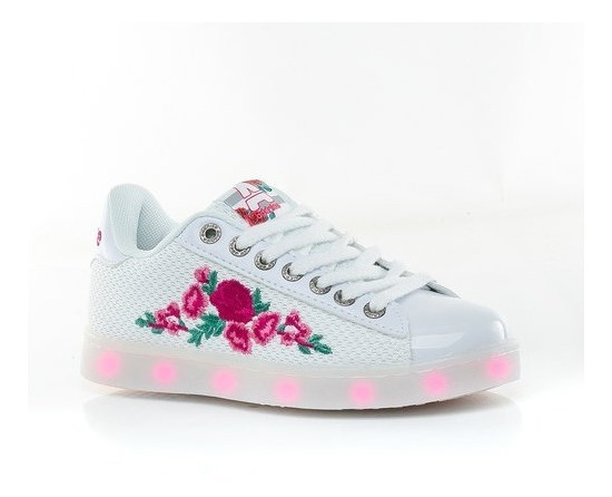 Zapatillas Addnice Blancas Flores Led Fty Calzados