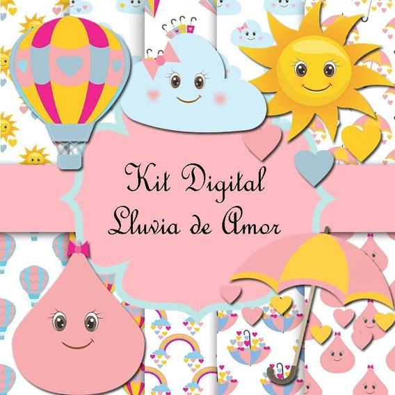 Kit De Papeles Digitales Lluvia De Amor