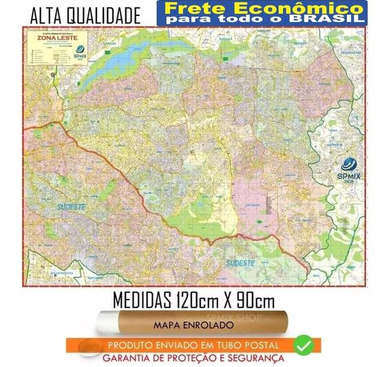 Mapa Da Zona Leste De São Paulo 120cm Enrolado Frete R$ 20