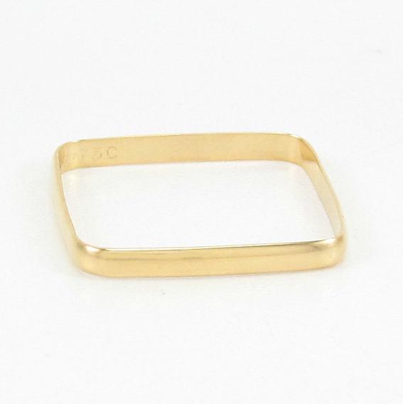 Anel Design Quadrado Estilo Aliança Aro16 Ouro Amarelo 18k.