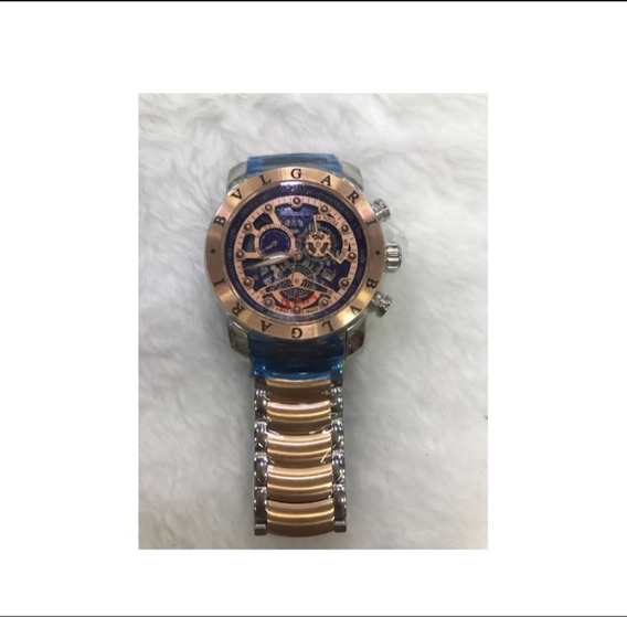 Relógio BvLG Skeleton Ouro Rose Original