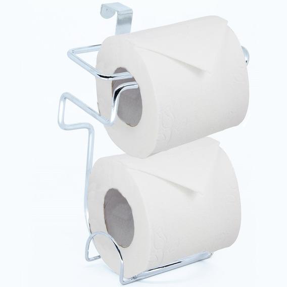 Suporte Porta Papel Higiênico Duplo Caixa De Descarga Acoplada Aço Cromado Banheiro Lavado Encaixar Encaixe Nota Fiscal