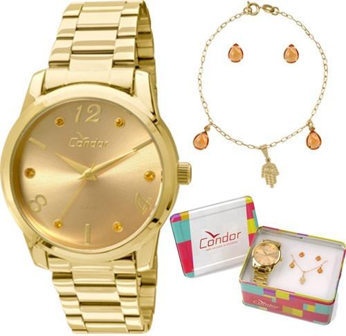 Relógio Condor Kit Feminino Semijoia Co2035klr/k4l