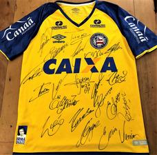 Camisa Do Bahia Brasileiro 2018 Usada Jogo Autografada Todos cb638f655816a
