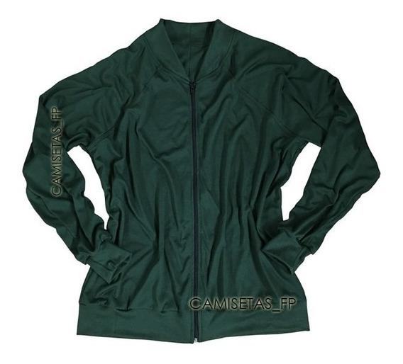 Jaqueta Bomber Masculina Slim Fit Verde Militar Esportiva