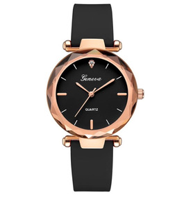 Relógio Feminino Couro Preto Geneva Casual Strass Fashion