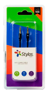 Stylos Stacb352405018 Cable Auxiliar 3.5 Mm 1mt Negro