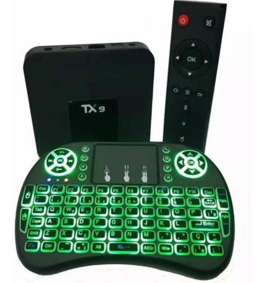 Conversor Smart Tv Tx9 C/bluetooth + Mini Teclado Com Led