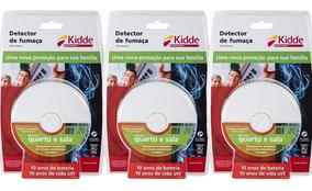 Kit 3 Peças Detector De Fumaça Com Alarme Quarto Sala Kidde