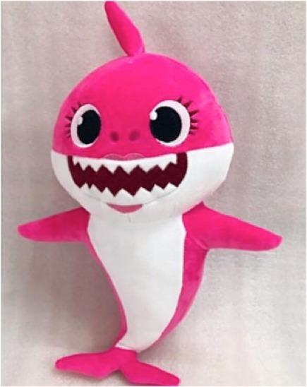 Pelúcia Bebê Tubarão Baby Shark Azul Rosa Amarelo Musical Le