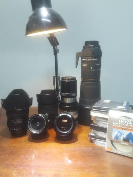 Lentes Nikon. 55mm 1.2, Tokina 11-16mm, Sigma 170-500mm....