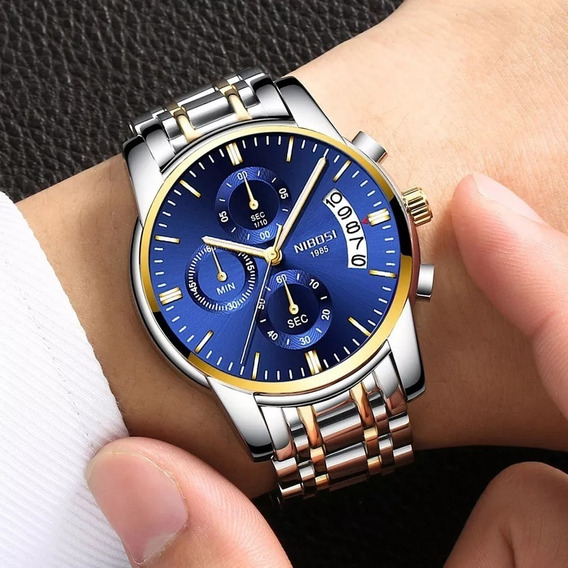 Relógio Nibosi Masculino Original Luxo Azul Dia Dos Pais