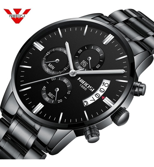 Relógio Masculino Nibosi 2309-1-2 Original 30 Metros Preto