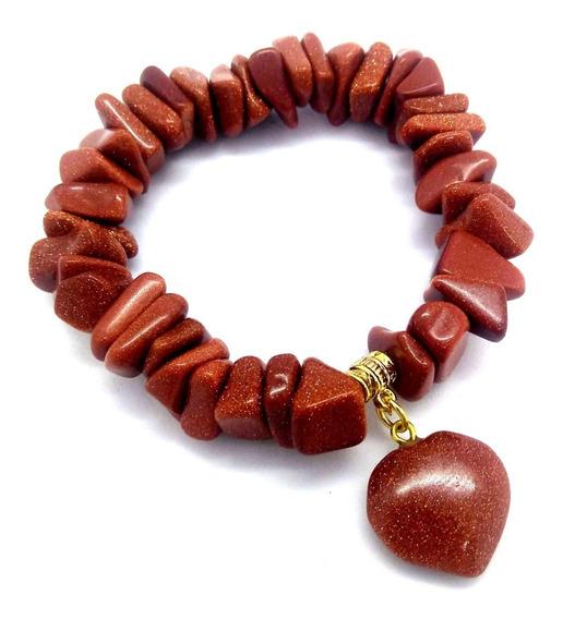 Pulseira Pedra Do Sol C/ Pingente De Coração Boas Energias
