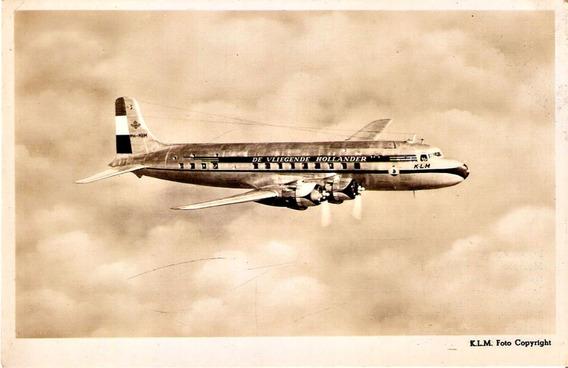 Cartão Postal Aviação Antigo Klm Avião Dc 6 Mc 2