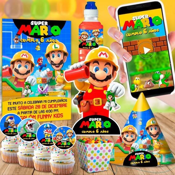 Invitación En Video Super Mario Bros + Kit Imprimible