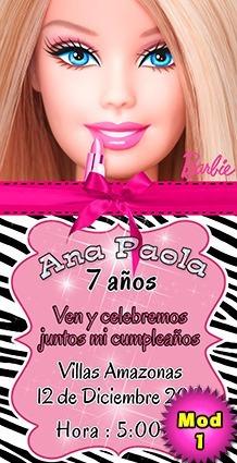 Tarjeta De Invitación Digital Personalizada Barbie