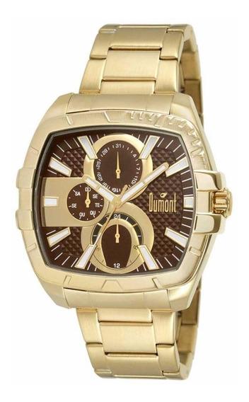 Relógio Dumont Masculino Du6p27ag/4m Analógico Dourado