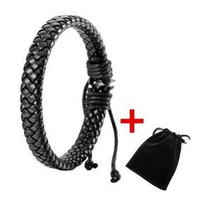Pulseira De Couro Unissex Bracelete Corda Presente Preto