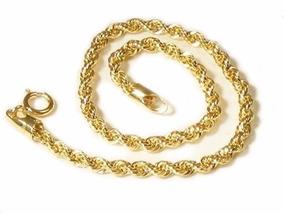 Pulseira Feminina Cordão Baiano Traçado Em Ouro 18k-750