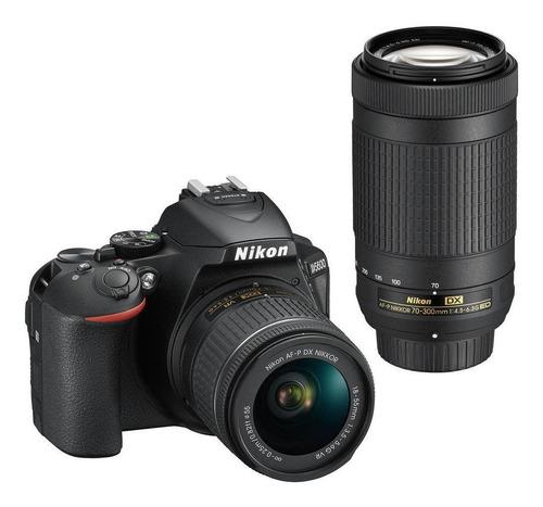 Imagem 1 de 7 de Nikon Kit D5600 + lente AF-P DX 18-55mm VR + lente AF-P DX 70-300mm VR DSLR cor  preto