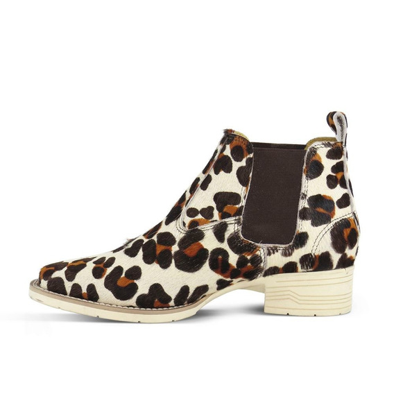 Botina Feminina Silverado Leopardo 3.9 Conforto Couro