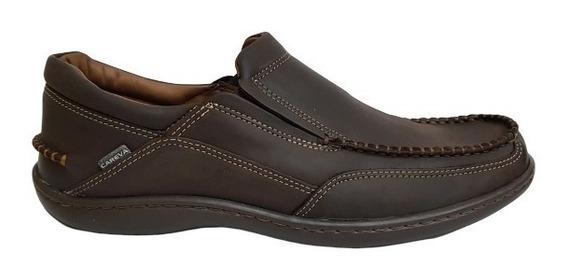 Zapato Hombre Nautico Cuero Base Goma Cosida Careva 3020 Mar