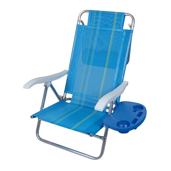 Kit Cadeira De Praia 8 Posições Alumínio E Mesa Portátil Mor