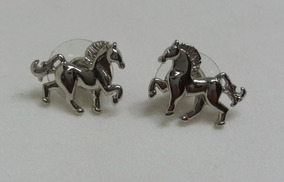 Brincos Feminino Pequeno Country Cavalos Cor Prata Delicado