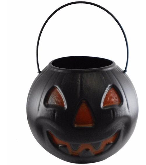 Halloween - Cesto Da Bruxa - Balde Abóbora Preta Para Doces