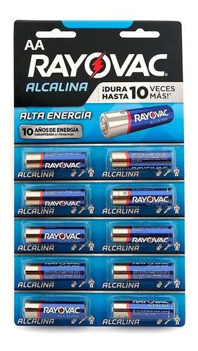 Imagen 1 de 3 de X10 Pilas Aa Rayovac Pilas Doble A Alcalina Troqueladas