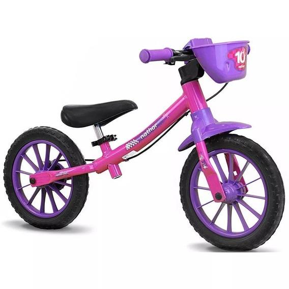 Bicicleta Infantil Sem Pedal Equilíbrio Balance Rosa Nathor