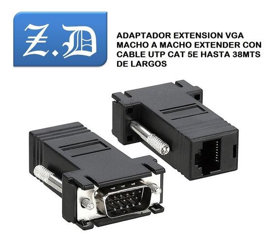 Adaptador Extension Vga Macho Rj45 Hasta 38mts El Par