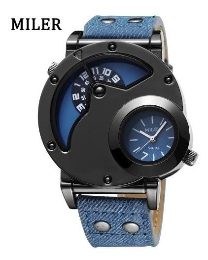 Relógio Pulso Masculino Azul Analogico Miler Jeans Quartzo
