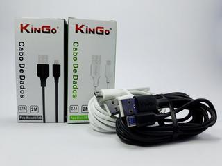 Kit 20 Cabo Dados Kingo Para Micro V8/tab 2.1a Qualidade 2m