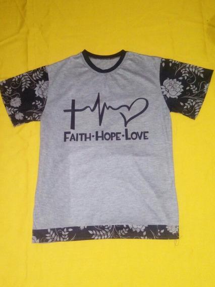 Camisa Faith.hope.love Manga Floral