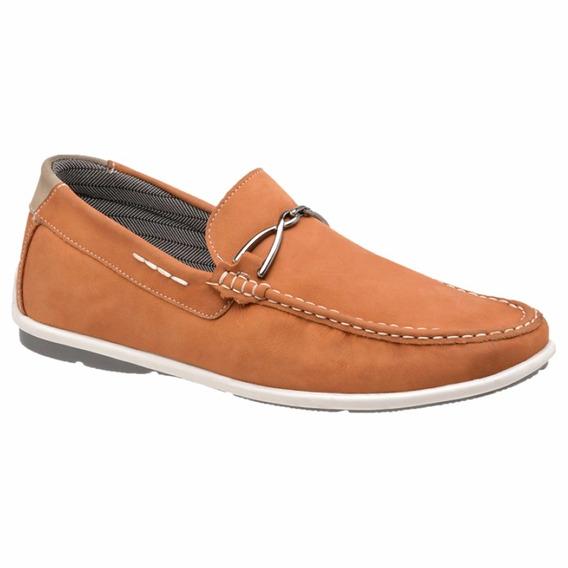 Mocassim Masculino Sapato Casual 100% Couro Nobuck Laranja