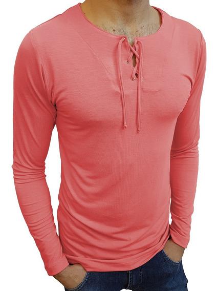Camiseta Masculina Básica Slim Fit Estilo Bata Manga Longa