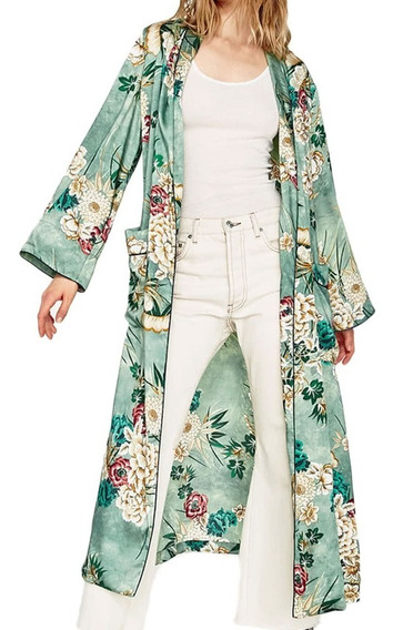 Mulheres Vintage Retro Floral Impressão Longo Quimono Jaque
