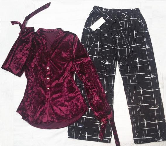 Pantalon A Rayas Ancho Y Blusa Conjunto Juvenil