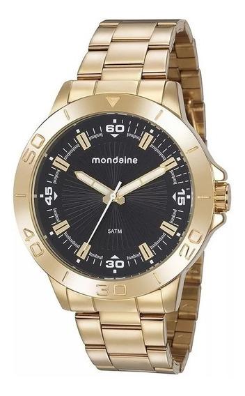 Relógio Masculino Dourado Preto Mondaine 76757gpmvde2