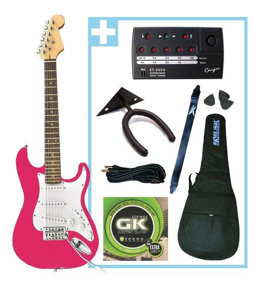 Combo Premium Guitarra Electrica Niños + Accesorios