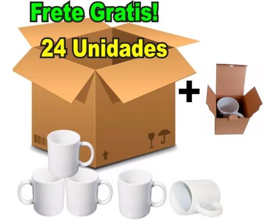 24 Caneca Porcelana Para Sublimação Premium Aaa + Caixinhas