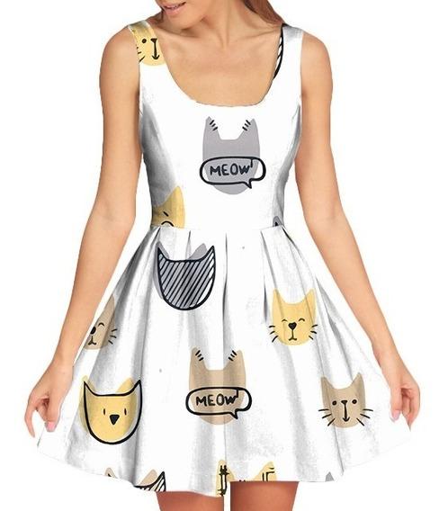 Vestido Feminino Doll Boneca Retro Vintage Gatinho Meow Cat