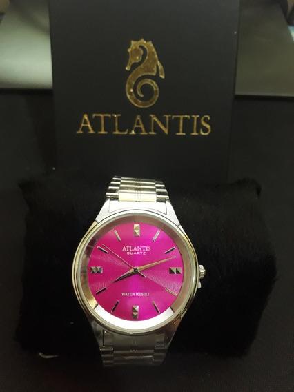 Relogio Unissex Atlantis G3490 Prata Fundo Rosa