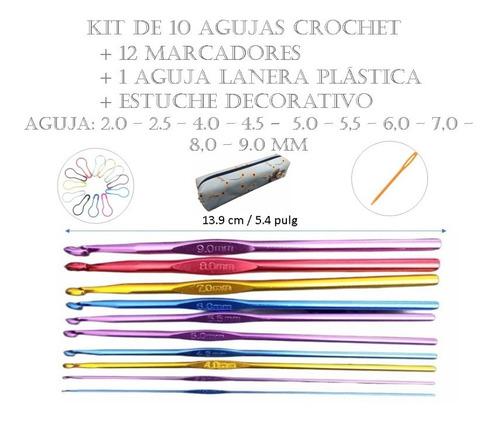 Imagen 1 de 7 de Kit 10 Agujas Tejido + Estuche +12 Marcadores + Aguja Lanera