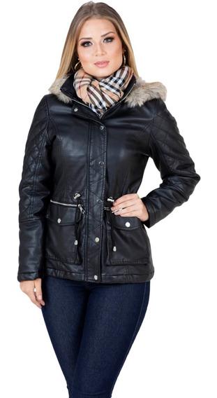 Jaqueta De Couro Feminina Plus Size Frio Extremo Forrada