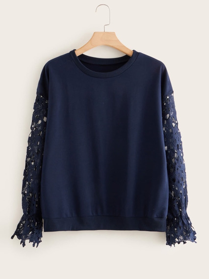 Sweater Plus Azul Marino Guipiur De Encaje En Las Mangas